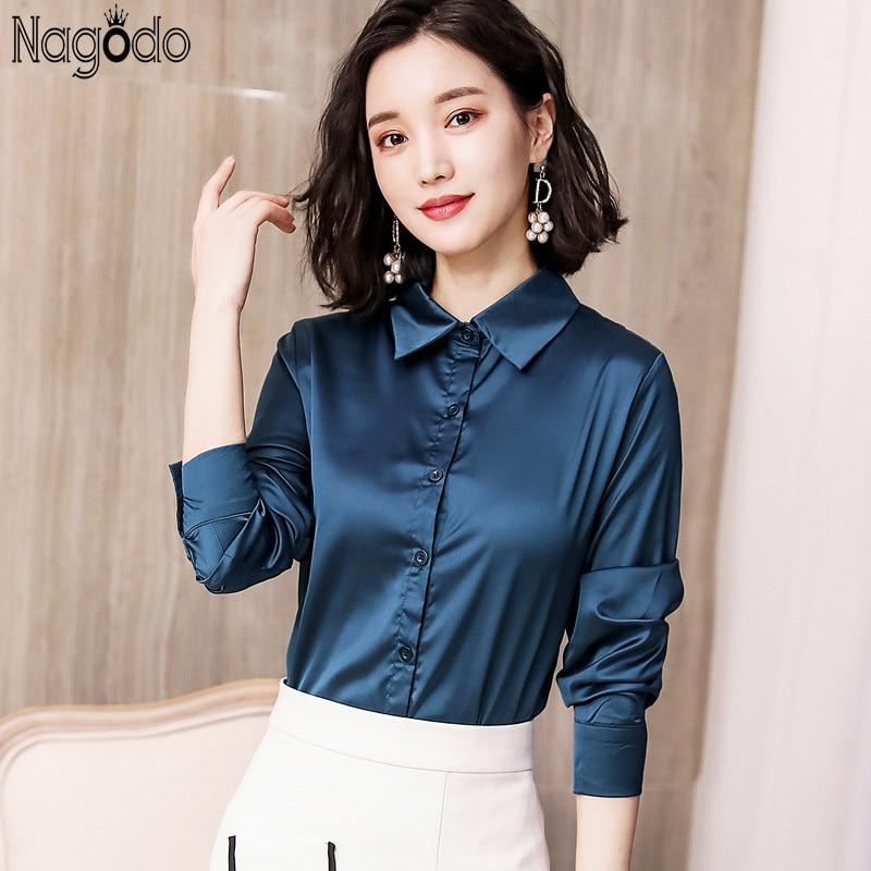 Nagodo, camisas de oficina para mujer, blusa de seda de satén coreana 2018, camisa Ropa de Trabajo de manga larga con solapa, tops ajustados para mujer, camisa femenina