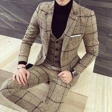 Plaid hommes costume laine-like tissu costumes pour hommes automne hiver qualité chaude Slim Fit hommes costumes pour mariage marié costume grande taille