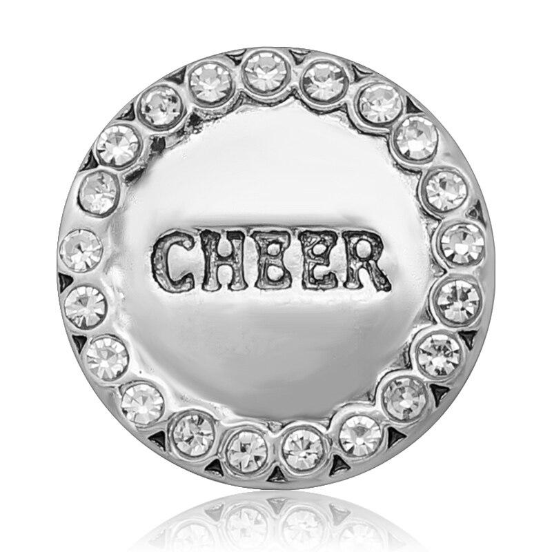 20 pçs/lote novo snaps jóias cheer cristal de metal 18mm botões pressão charme feminino pulseira & pulseira botão snap