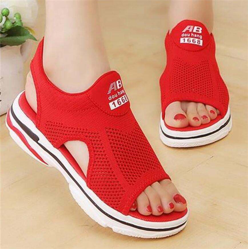 Conforto respirável compras senhoras sapatos de caminhada vermelho preto mulher gladiador sandálias para o verão nova plataforma sandália ulzzang