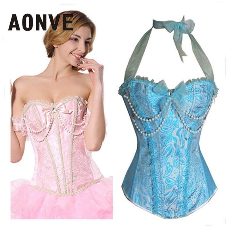 Женский корсет AONVE, с бретелькой через шею, корсет-бюстье, сексуальное платье в готическом стиле, тренировочный корсет синего цвета