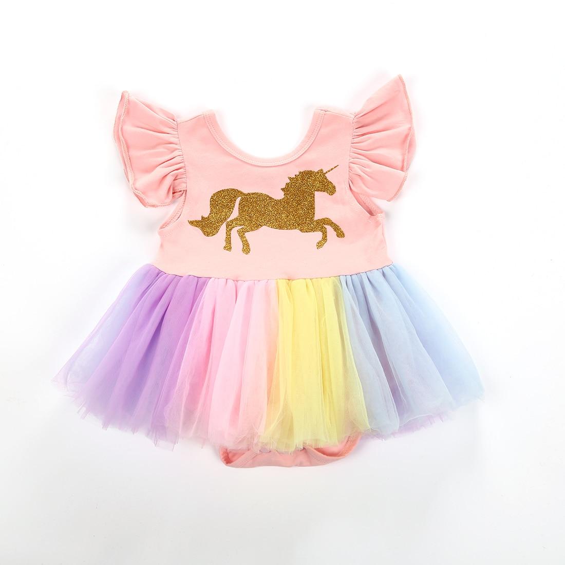 Bonito vestido de unicornio para niña recién nacida volantes sin mangas tutú de dibujos animados Mini vestidos de ropa de verano 0-24M