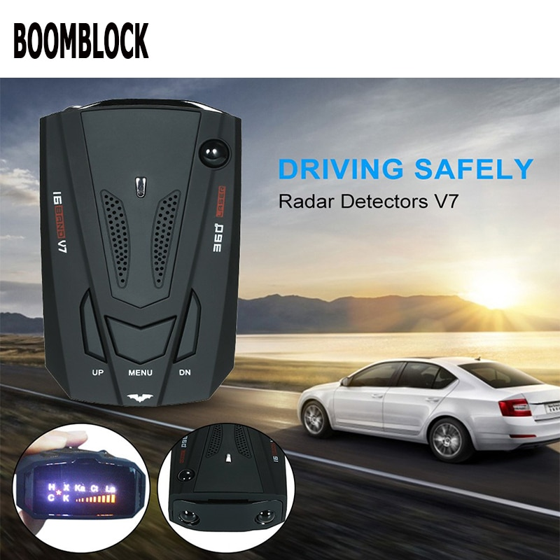 Boomblock carro detector de radar gps led luz 16 banda alerta voz para audi a4 a3 a6 c6 b7 b8 b5 q5 assento leon ibiza skoda fabia yeti