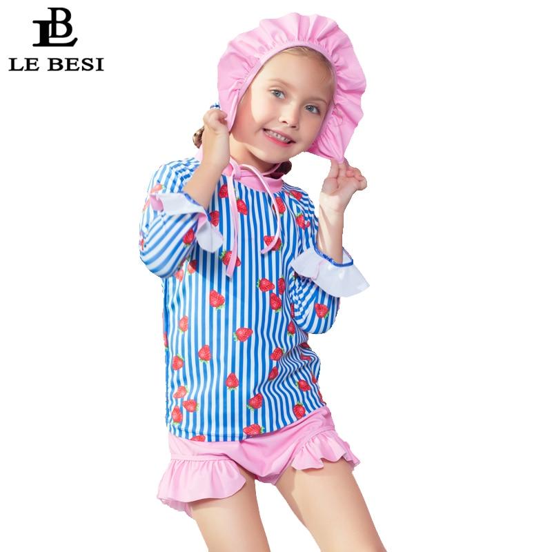 LEBESI 2018 Children Swimsuit Two Piece Swimwear Print Strawberry Beachwear With Long Sleeve Girl Bathingsuit Free Swimming cap