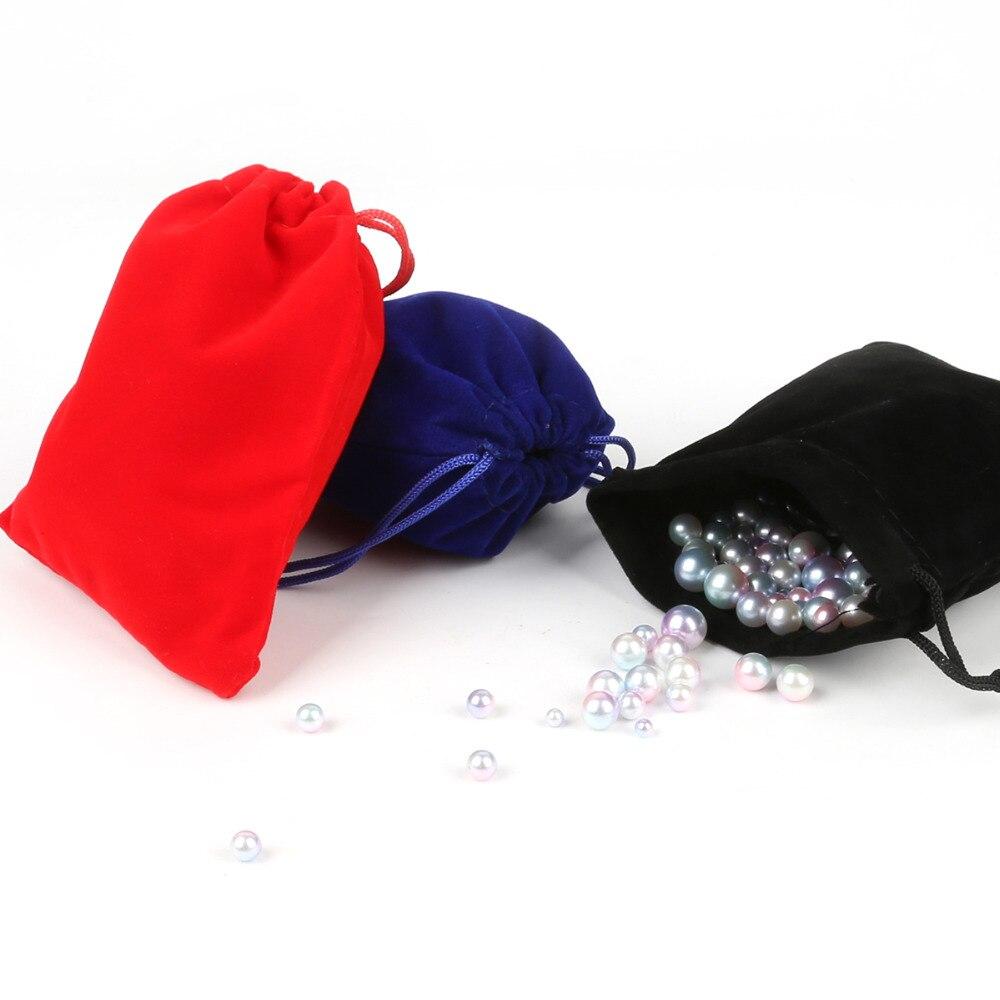 Rojo/Negro/azul oscuro 10*12cm 5 uds bolsa de terciopelo con cordón de embalaje/bolsa de joyería Navidad/boda cuenta de regalo contenedor de almacenamiento