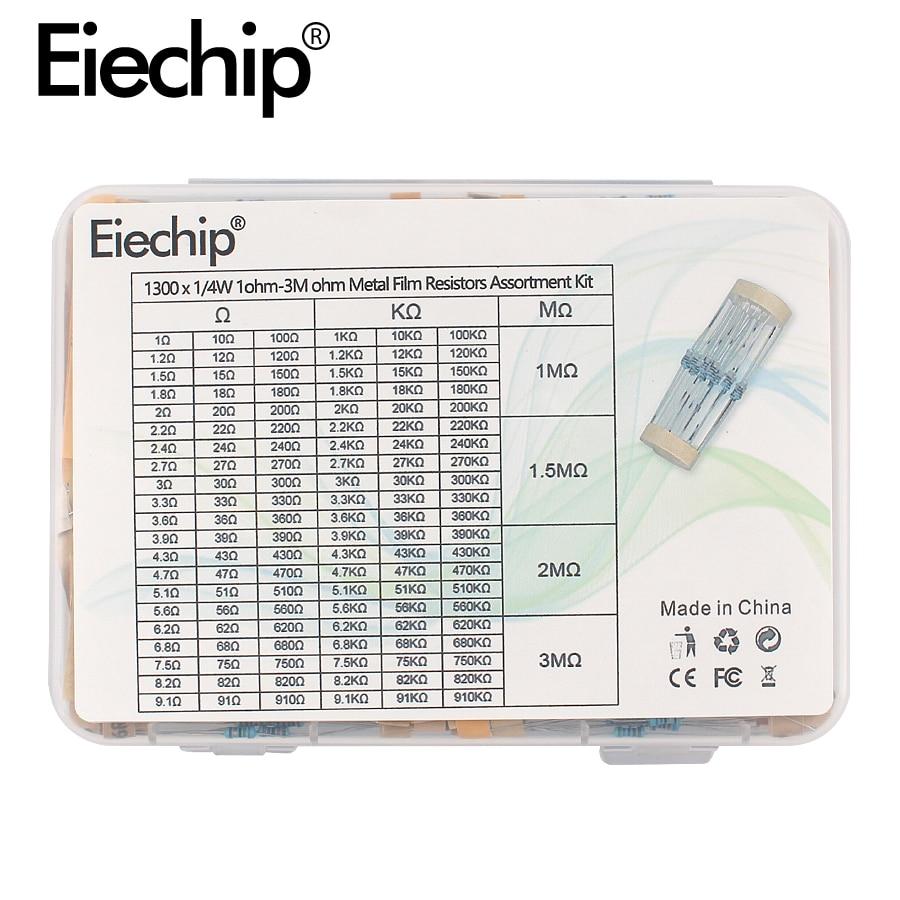 AliExpress - 1300pcs/box 1ohm – 3M ohm Metal Film Resistor set 1/4W 1% electronic resistors assortment kit 130 Values*10pcs resistance pack