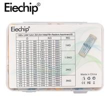 Juego de resistencias electrónicas de película metálica, kit surtido de resistencias electrónicas de 1/4W, 1ohm - 3M ohm, 1300 valores * 10 Uds., 1% unids/caja
