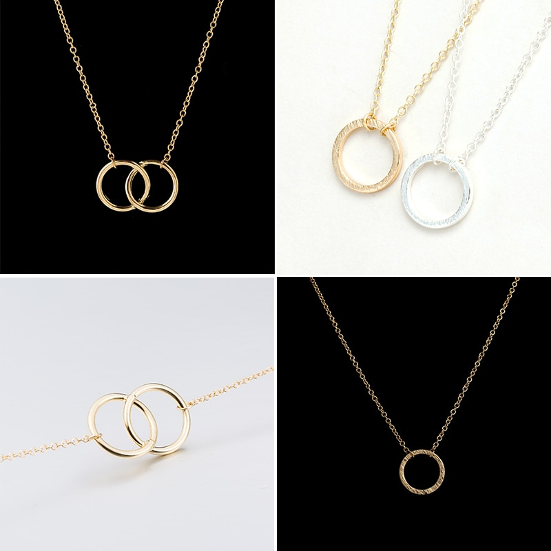 Fashion Circle Pendant Necklace for Women Kids Gold Hollow Round Geometric Sweater Chain Best Mother