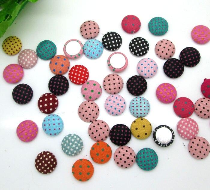 100 Uds. 12mm tela de punto mezclado botones cubiertos cabujón álbum de recortes accesorios de costura DIY tela de tela plana botón