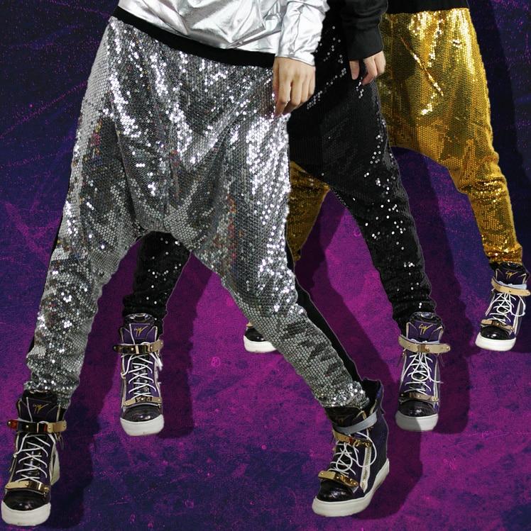 Nueva moda Pantalones Harem mujer Bling big crotch personalizado hip hop trajes etapa baile metal color Jazz Pantalones