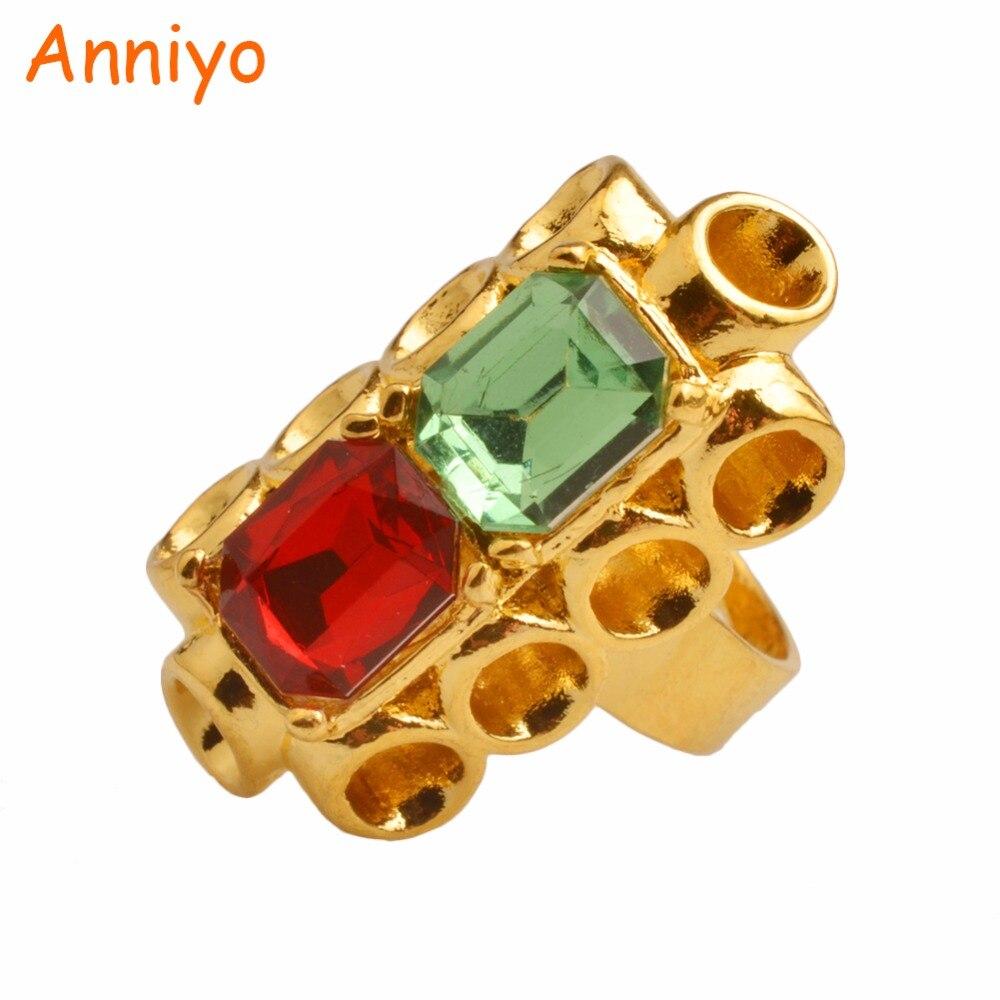 Женское кольцо с кристаллом Anniyo, регулируемое кольцо золотистого цвета для свадьбы, ювелирных изделий в эфиопском африканском стиле, подар...