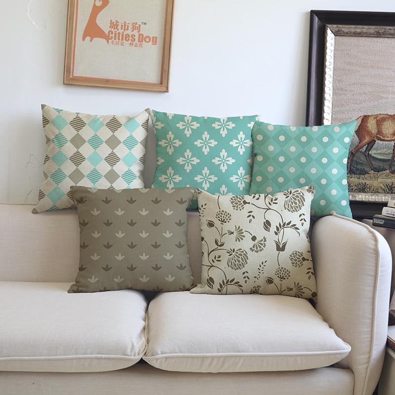 Dark Coffee Brown Green Classic Geometric pattern Cushion Cover Sofa car hotel Home Decoration Pillow case