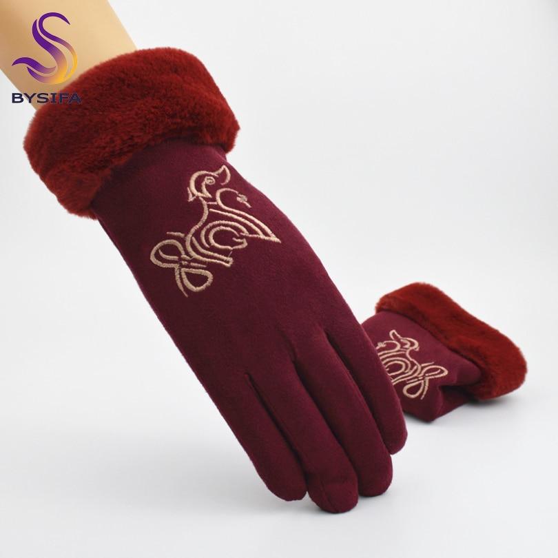 [BYSIFA] New Cute Dog Design Women Gloves Winter Fashion Animal Embroidery Full Fingers Gloves Warm Rabbit Hair Mitten Gloves