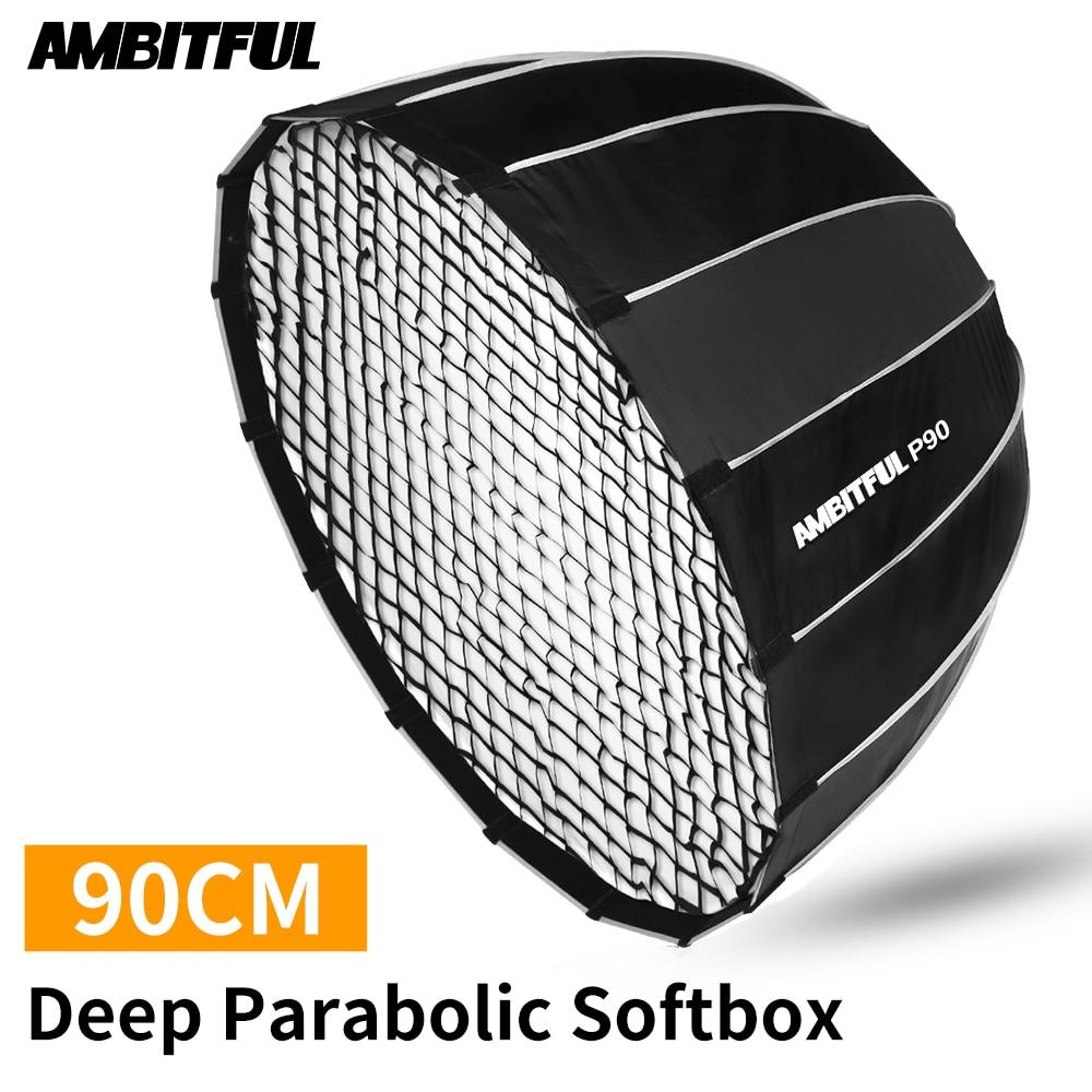 AMBITFUL P90 portátil 90CM 16 varillas Deep softbox parabólico con rejilla panal Bowens montaje estudio Flash softbox de speedlite
