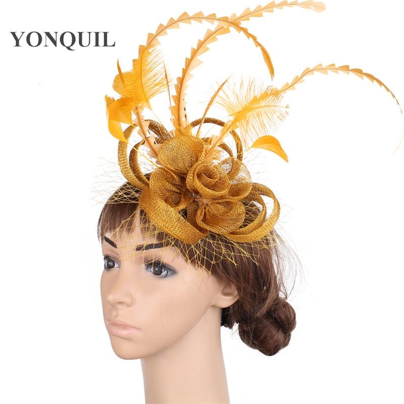 Винтажная Золотая основа sinamay, Вуалетка для волос, красная вуаль для волос, аксессуары для волос, Коктейльная шляпа MYQ010