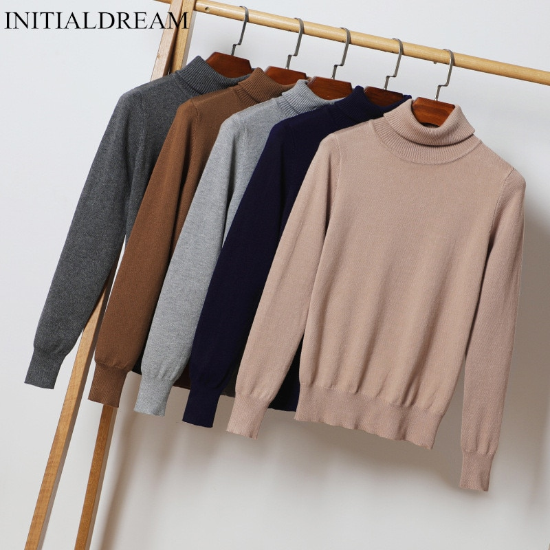 New Women Turtleneck Knitted Sweater Autumn and Winter Casual Solid Warm Pullovers Fashion Slim Jumper Bottoming Knitted Sweater