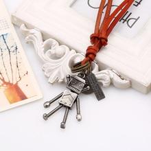 Vente 1 Pc femmes/hommes Robot pendentif collier haute qualité chandail cuir réglable longue chaîne alliage marron corde argenté/Bronze