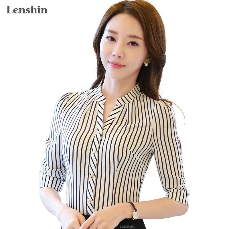 Camisa de gasa patrón de cebra blusa a rayas mujeres formales Ropa de Trabajo verano media manga cuello en V ajustada Oficina Tops femeninos
