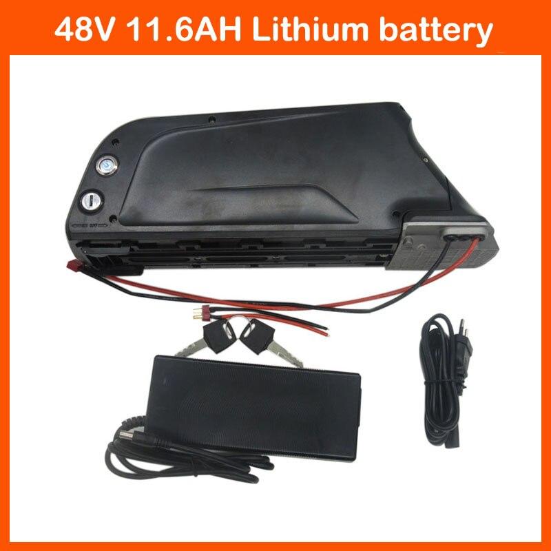 Tarifa de aduana libre 750 W 48 V abajo batería del tubo 48 V 11.6AH ebike batería de litio uso Panasonic 2900 Mah con el puerto del USB 2A cargador