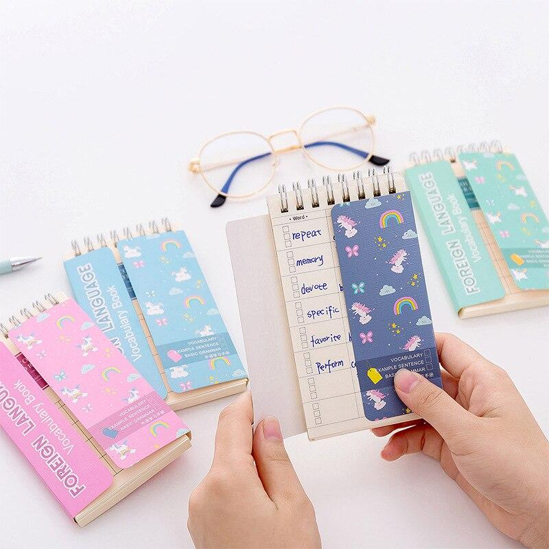 12 unids/lote unicornio Idioma extranjero bobina de aprendizaje libro portátil bolsillo cuaderno diario Bloc de notas Escolar Papelaria