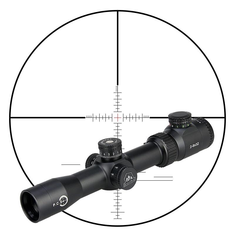 Canis Latrans MT 2-8x32 Rifle Scope Red Green Iluminado Riflescope PP1-0288 30mm de Diâmetro Do Tubo Para Fotografar Ao Ar Livre
