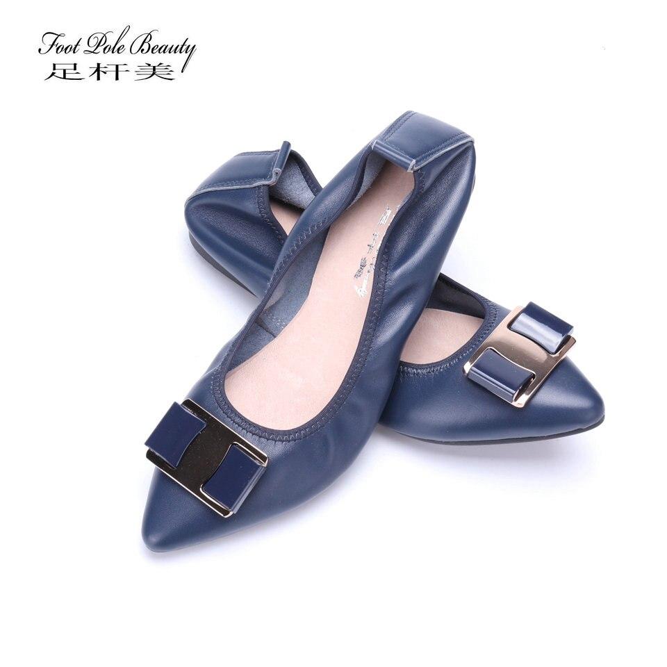 2018 zapatos planos de Ballet de cuero genuino a la moda Zapatos de mujer con punta estrecha zapatos de trabajo de oficina suaves y bajos zapatos de mujer de talla grande (34-42)