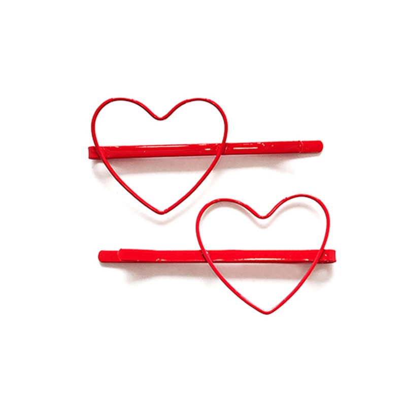 Loeel 2 unids/lote, horquilla accesorios para el cabello con forma de corazón y Color sólido para mujer, horquilla accesorios para el cabello chapados en colores