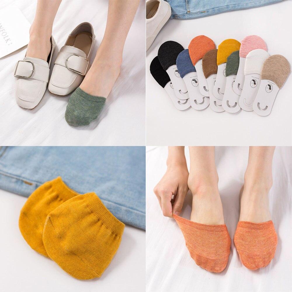 New Woman Summer Forefoot Socks Thin Cotton Sweat Socks Non-slip Slippers High Heels Invisible Half Foot Socks