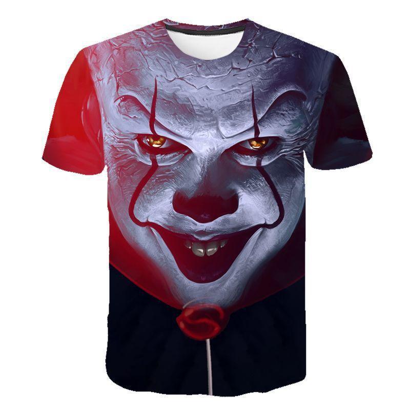 2019 American Horror películas IT Clown Joker 3D imprimir camisetas hombres mujeres Harajuku Streetwear camiseta moda Casual ropa Tops