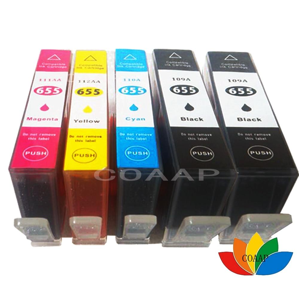 5PCS Compatible hp 655XL hp655 Black cyan magenta yellow Ink Cartridge HP Deskjet 3525 4615 4625 5525 6520 6525 6625 Printer