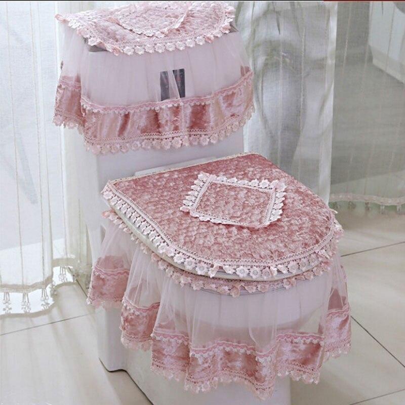 3 unids/set gran oferta cubierta de Asiento de baño de encaje en forma de U sobretodo decoración del hogar Baño esteras de baño decoración del baño