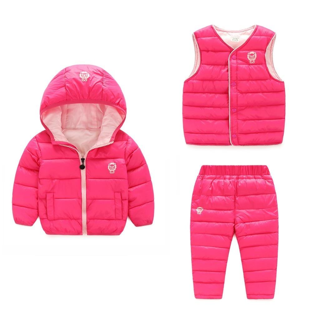 Yeni 2018 Çocuk Seti Erkek kız giyim setleri kış hoody Aşağı Ceket + yelek + Pantolon Su Geçirmez Kar Sıcak çocuk Giysileri takım elbise