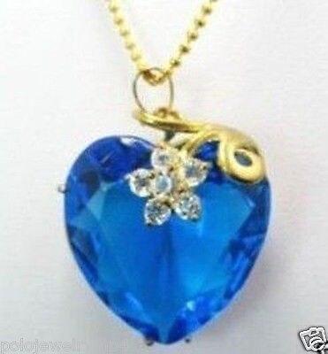 Envío Gratis Nueva joyería azul Corazón de melocotón Flor de Gema facetada 18KGP COLLAR COLGANTE de las mujeres