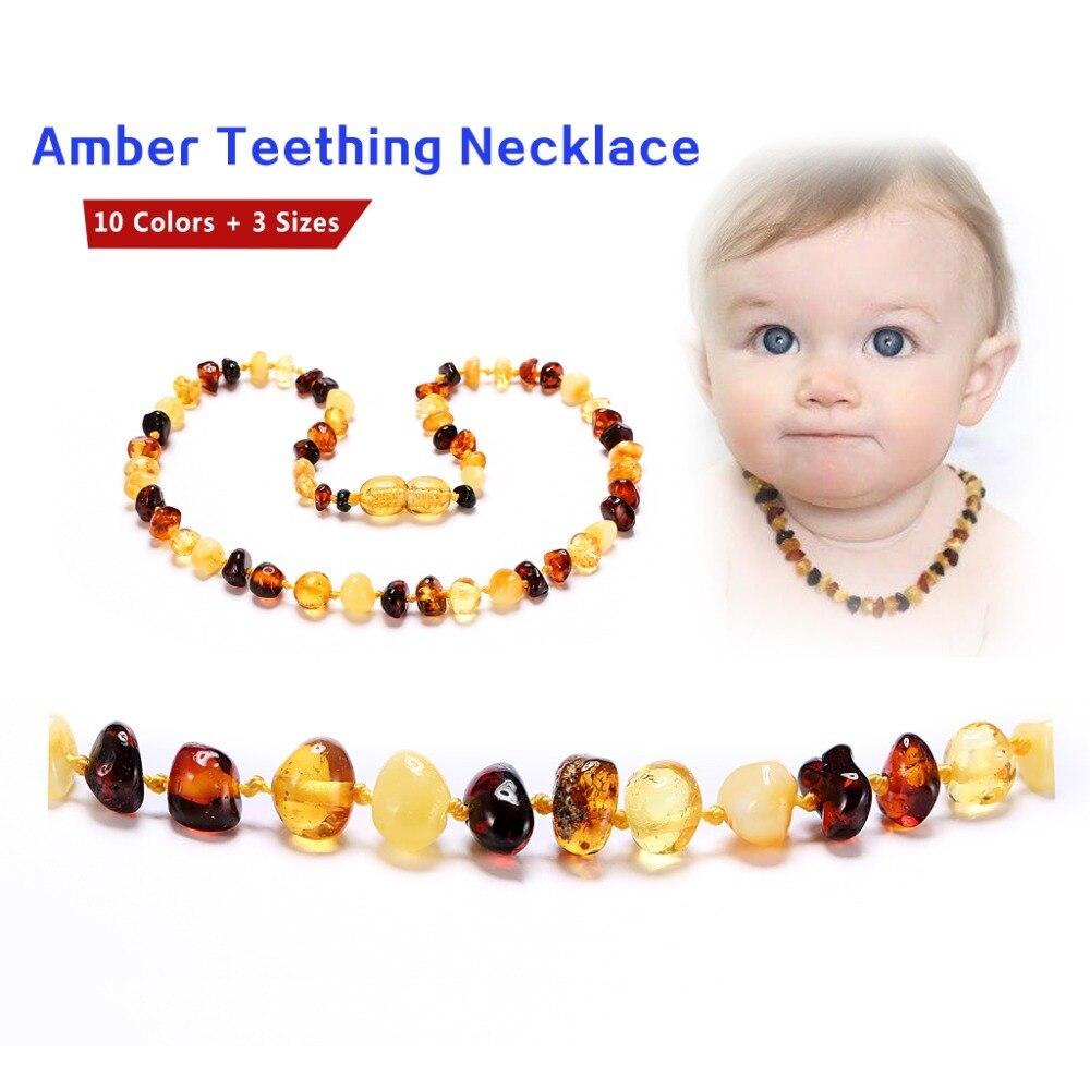 Collar/pulsera de dentición ámbar-sin factura, sin precio, sin logo-7 tamaños-10 colores-envío desde CN