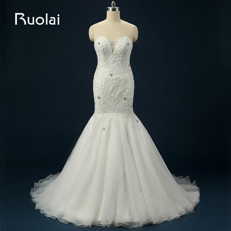 Vestido de Novia de sirena con cuentas de tul, Largo ASAFN48 traje...