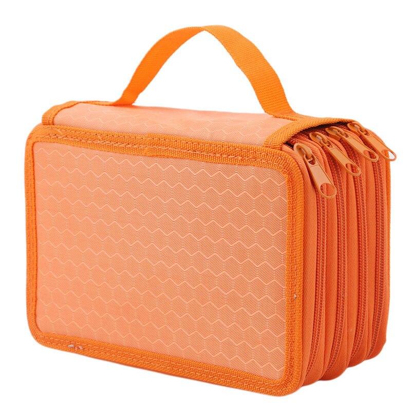 72 Agujeros 4 capas práctica PU funda de almacenaje de piel material escolar estuche de gran capacidad para regalo para estudiantes suministros de arte 992826
