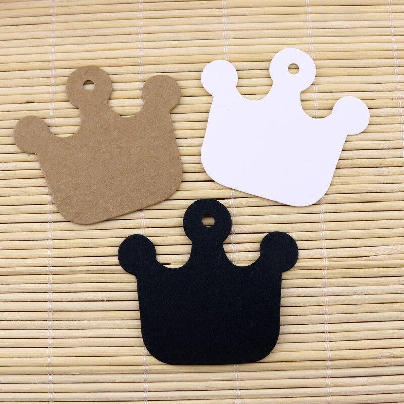 Venta al por mayor 100 Uds tarjetas de papel Kraft 6x5,5 cm cartón etiquetas Forma de Corona tarjeta para presentación de joyas etiqueta de precio