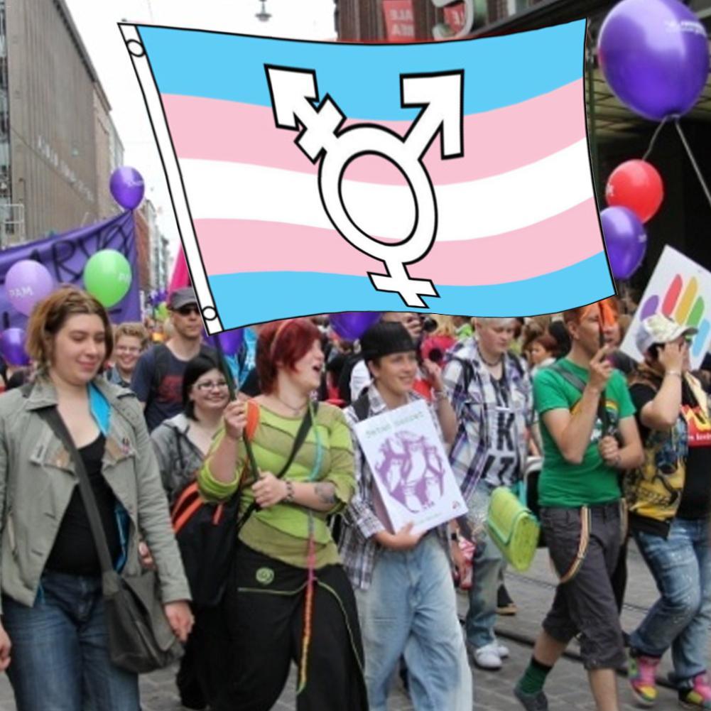 90*150cm Arco Iris símbolos transgénero orgullo bandera UV-resistente tintes largo Color duradero Banner bandera para eventos fiesta bandera decorativa