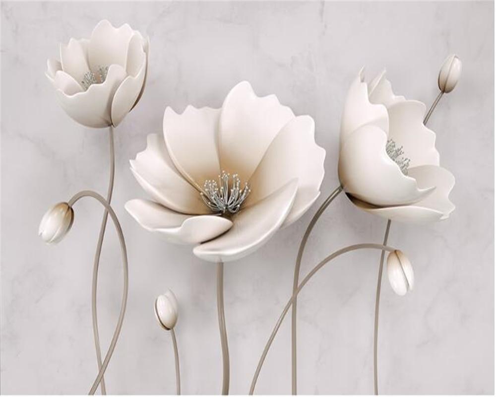 Beibehang papel pintado 3d papel tapiz decoración familiar hermosa flor papel tapiz de mármol