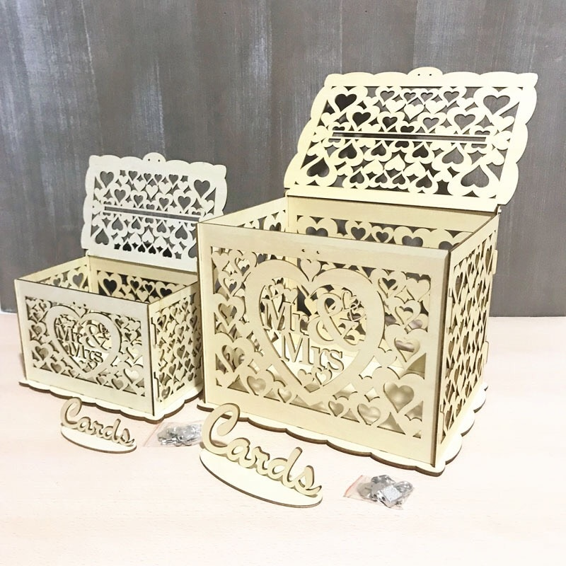 Decorações de Casamento DIY casa de madeira caixa de cartão de casamento do noivo da noiva nó sinal de caixa de correio caixa de dinheiro em caixa de cartão de casamento