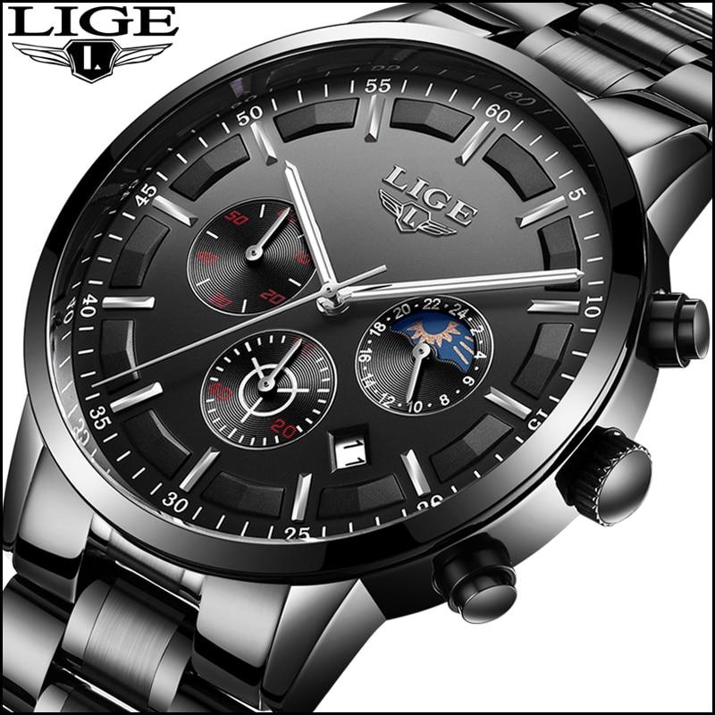 2018 Mens Watches Moon Phase LIGE Chronograph Top Brand Luxury Fashion Mens Steel Military Waterproof Sport Quartz Watch relogio