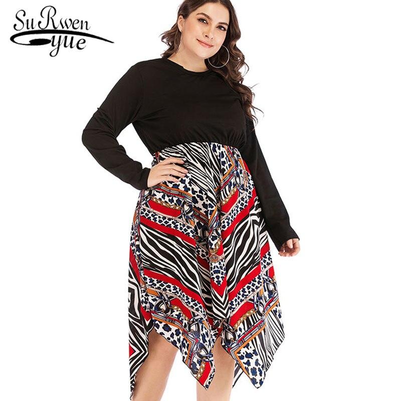 2019 vestido de talla grande a la moda con costuras estampadas vestidos de chifón para mujer vestidos informales de manga larga y cintura alta 2279 50