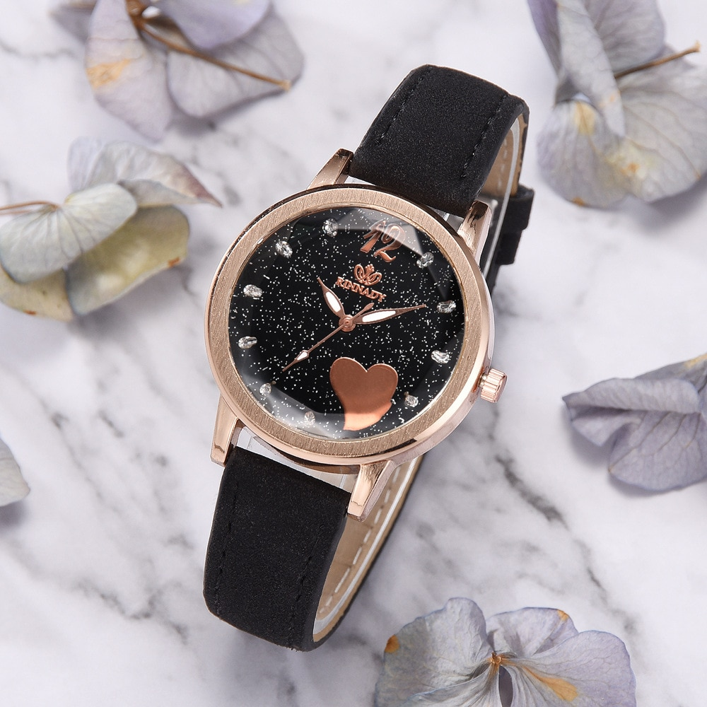 Fshion Women Dress Watches Rose Gold Luxury Brand Starry Sky Ladies Analog Quartz Wrist Watch Women Rhinestone Lady Watches