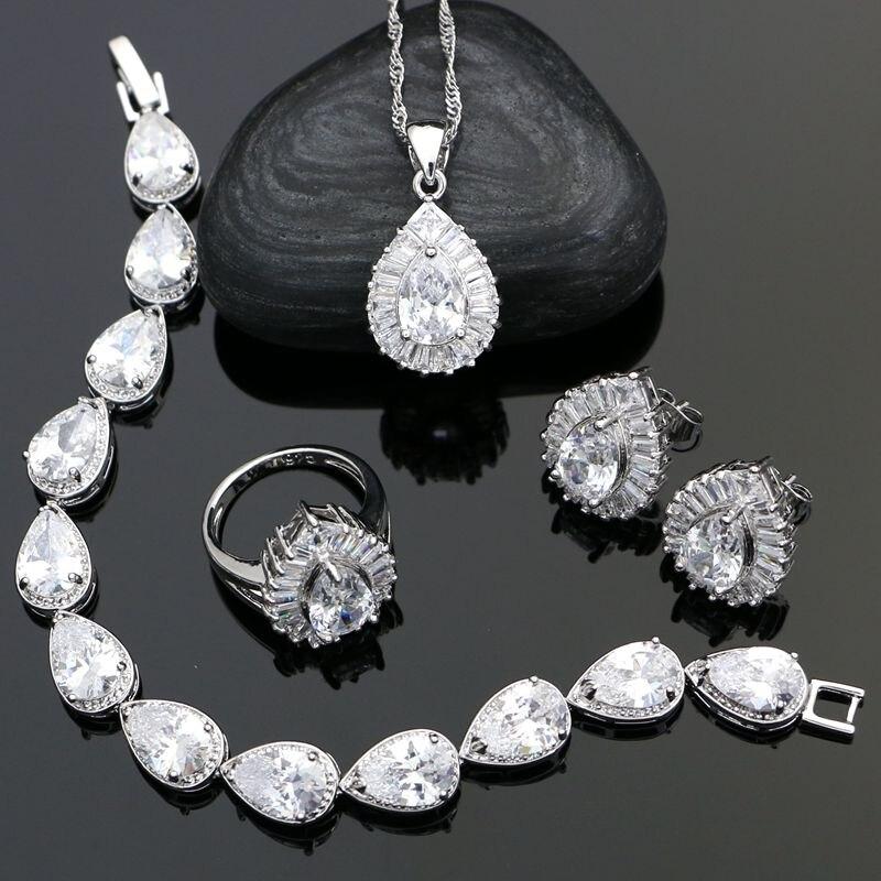 Conjuntos de joyería de plata de ley 925 para boda para mujer, aros de cristal de circonia cúbica blanca/anillo/pulsera/collar/juego de colgantes