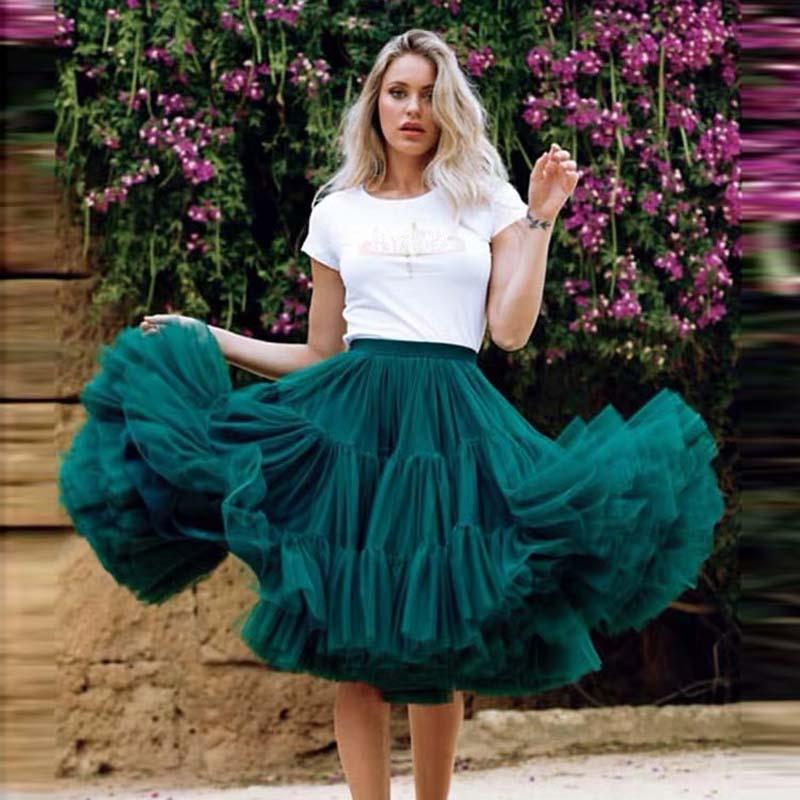 2019 Pretty Puffy Teal Midi Tulle Skirts Women Elastic Fashion Bridal Bridesmaid Tulle Skirt Ruffles Tutu Saias