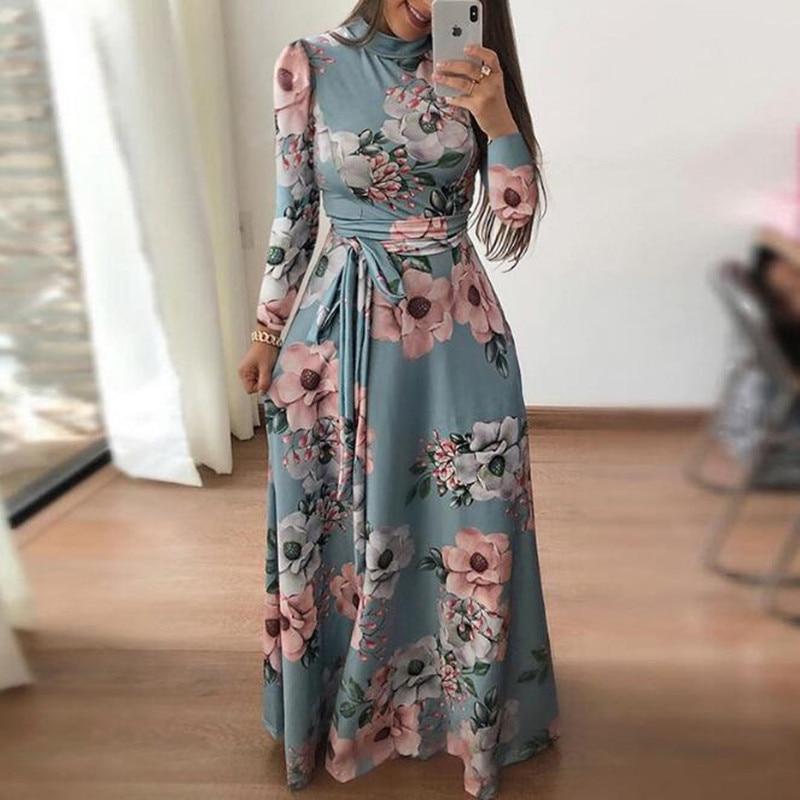 WIPU Elegant Floral Print Casual Loose Maxi Dress Women 2019 Autumn Dresses Long Sleeve Tie Waist Long Robe Femme
