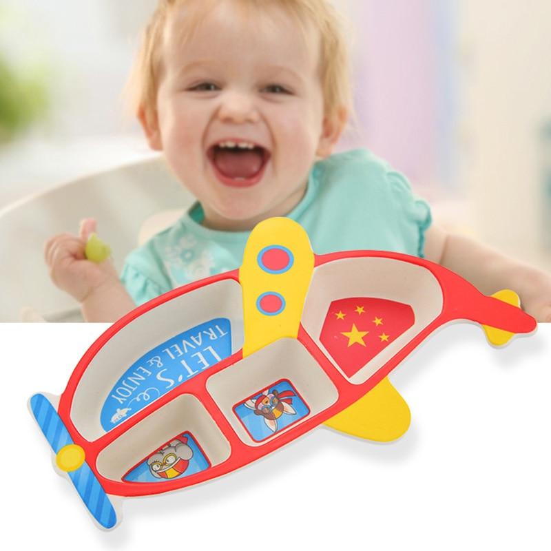 3 pçs/set crianças placa de fibra de bambu aeronaves forma grade tigela comer garfo colher conjunto de utensílios de mesa de alimentação do bebê conjunto