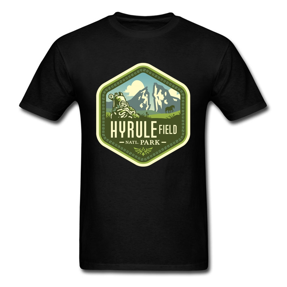 Camiseta Zelda Hyrule Field, camiseta de Parque Nacional, camisetas para hombres, ropa gráfica, Camiseta de algodón, camisetas negras de Hip Hop de verano