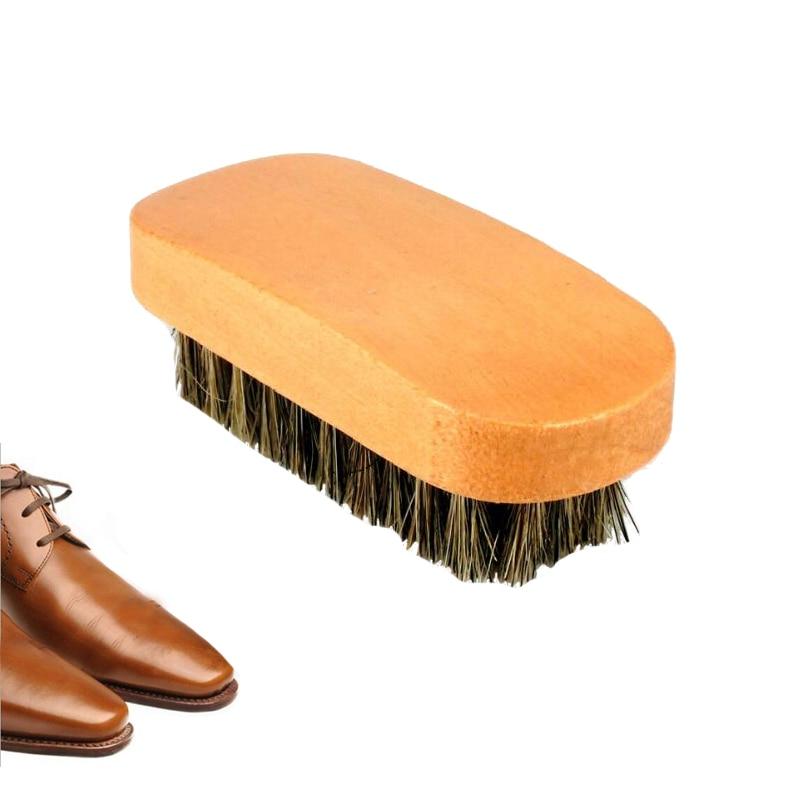 Cepillos de brillo de zapatos de crin con cerdas de pelo de caballo para botas, cepillo de cuero para el cuidado de limpieza de zapatos para botas de nobuk de ante