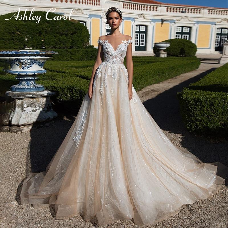 Ashley Carol Sexy V-Cuello de manga de encaje de tul vestidos de boda de lujo 2019 vestidos de novia de la princesa sueño vestidos de boda